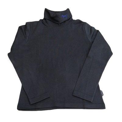 Μπλούζα ζιβάγκο μπλε σκούρο με αλογάκι στον λαιμό
