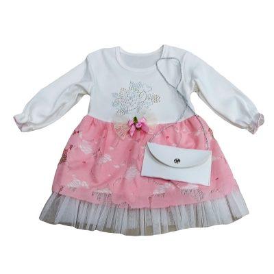Φόρεμα λευκό-ροζ