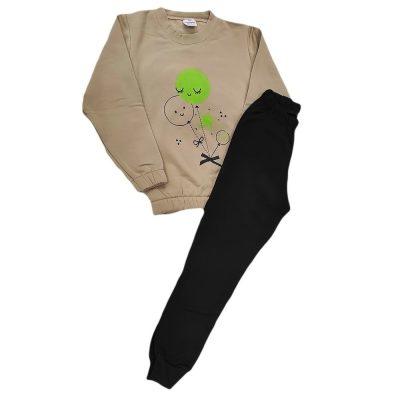 Φόρμα μπαλονάκια μπεζ-πράσινο