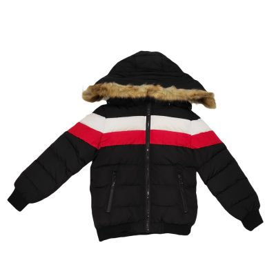 Μπουφάν με επένδυση γούνα μαύρο-κόκκινο