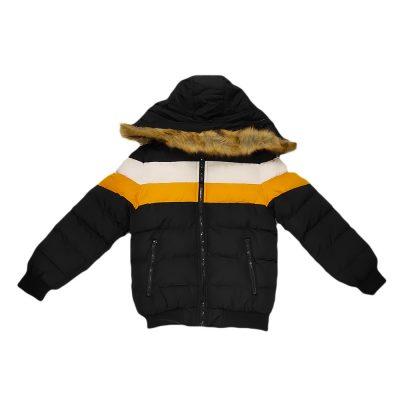 Μπουφάν με επένδυση γούνα μπλε-κίτρινο