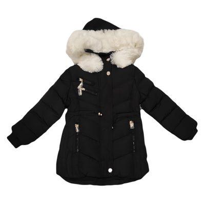 Μπουφάν με επένδυση γούνα μαύρο-λευκό