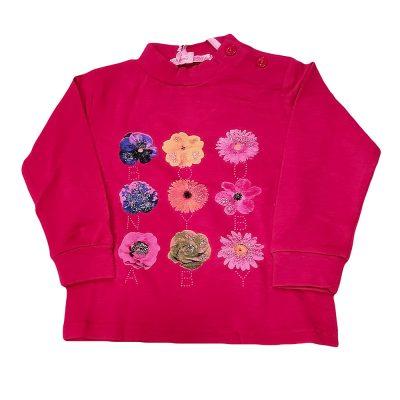 Μπλουζάκι με λουλούδια φουξ