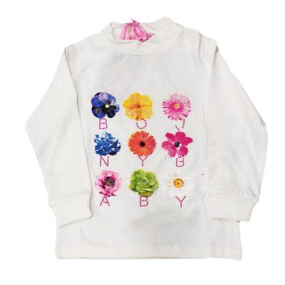 Μπλουζάκι με λουλούδια λευκό