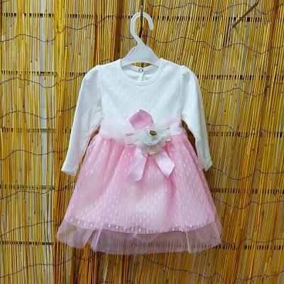 Φόρεμα λευκό-ροζ με τούλι