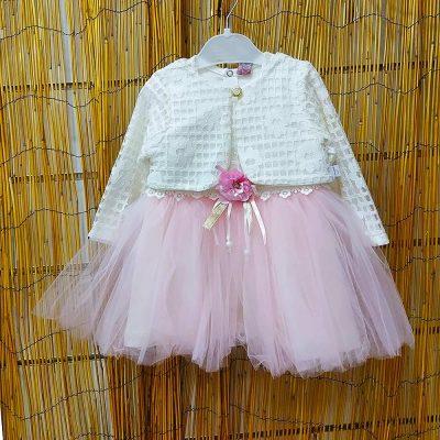 Φόρεμα λευκό-ροζ με μπολερό